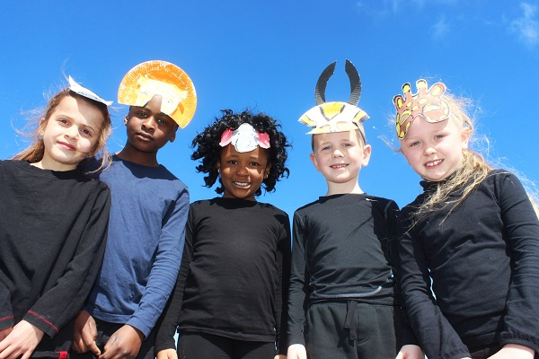 Eva Sharma, Damolai Dowu, Divine Itsede, Adam Lunn and Taylor Stack, Moyderwell National School performers of The Lion King. Photo by Gavin O'Connor.