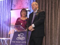 Eibhlin and Dick Henggeler at the official reopening of The Rose Hotel on Friday evening. Photo by Dermot Crean
