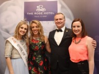 Rose of Tralee Elysha Brennan, Marie Donnellan, Daithi O Se and Sile Ni Dheargain at the official reopening of The Rose Hotel on Friday evening. Photo by Dermot Crean