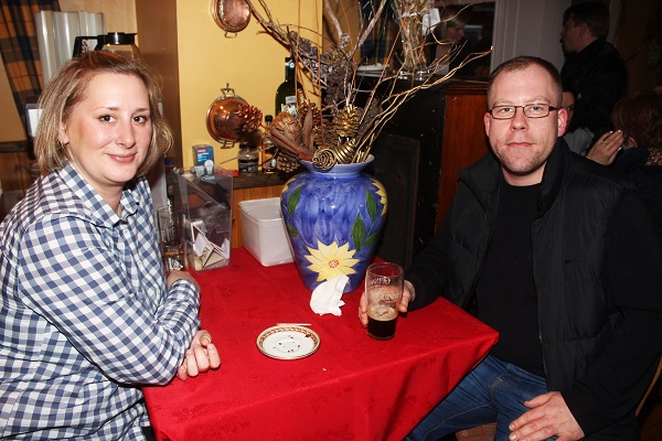 Kakarzyna Vryjankowska and Peter Buyer at The Taste For Africa in the Tankard, Spa on Tuesday night. Photo by Gavin O'Connor.