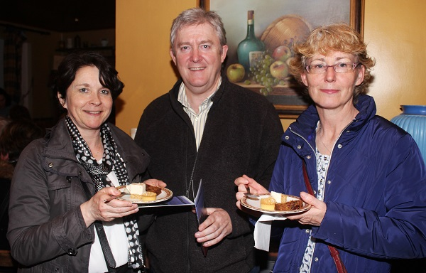Claire O'Brien, Richard Liston and Maeve Higgins at The Taste For Africa in the Tankard, Spa on Tuesday night. Photo by Gavin O'Connor.