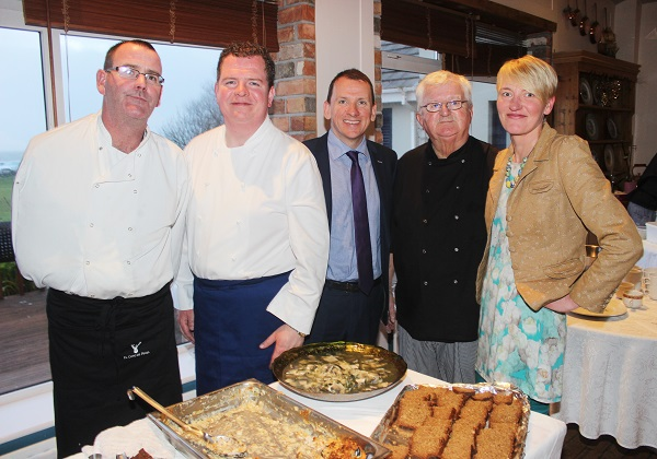 Brian O'Keefe (The Westend, Fenit), Adrian O'Sullivan (The Tankard), David Slattery (Stean Travel), Frank Moynihan (Frankly Cooking) and Kirsty O'Kelly (Silver Darlings) at The Taste For Africa in the Tankard, Spa on Tuesday night. Photo by Gavin O'Connor.