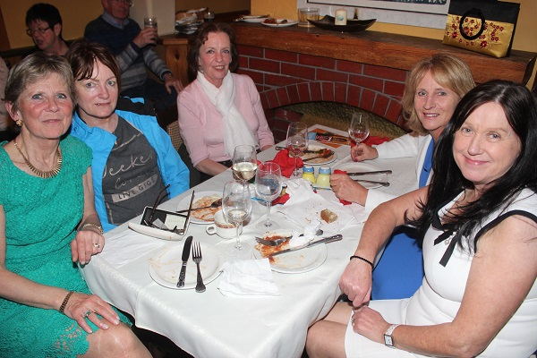 Marian Enright, Patricia O'Brien, Martha O'Sullivan, Anne Houlihan and Anne Roantree at The Taste For Africa in the Tankard, Spa on Tuesday night. Photo by Gavin O'Connor.