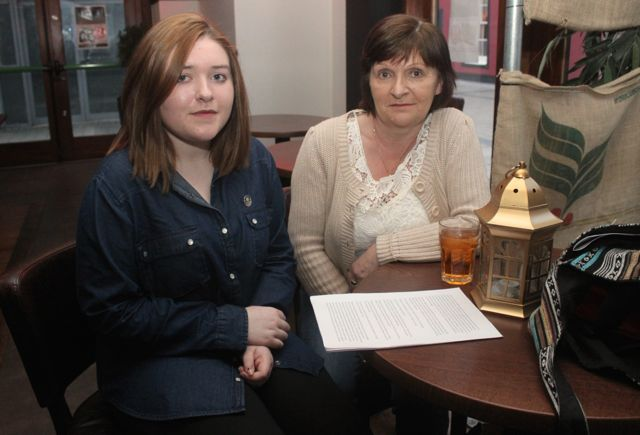 Ciara and Sheila Dennehy at the 'Thursday Night Writers' group Open Mic night on Friday in The Abbey Inn. Photo by Dermot Crean