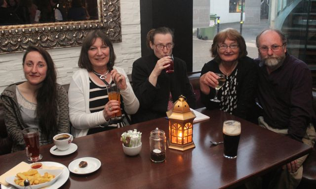 Emma Pierce, Sonya Elston, Joan Prendergast, Lesley Collins and Chris Collins at the 'Thursday Night Writers' group Open Mic night on Friday in The Abbey Inn. Photo by Dermot Crean