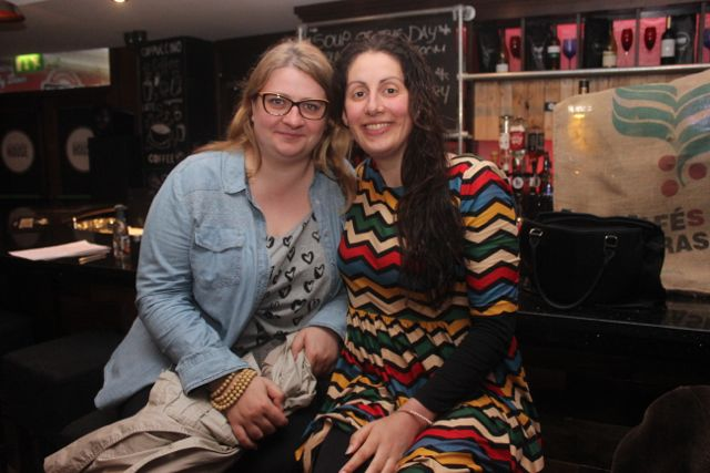 Anna Dokurno and Rachel Pinckheard at the 'Thursday Night Writers' group Open Mic night on Friday in The Abbey Inn. Photo by Dermot Crean