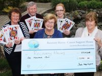 At the cheque handover from the Irish International Bridge Congress to Recovery Haven were in front, Maureen O'Brian, Elsie Bannan. Back : Philomena Stack, Tom Hardiman and Trish Stack. Photo by Gavin O'Connor.