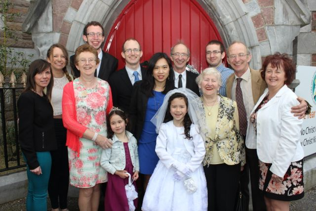 CBS pupil Aisling O'Connell who made her first Holy Communion in Our Lady and St Brendan's Church on Saturday morning with Marie O'Callaghan, Claire, Elizabeth, Brendan, Michael, Aoife, Jia, Tim, James, Bridie Michael and Bridget O'Connell. Photo by Dermot Crean