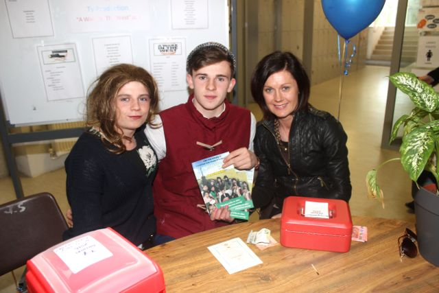 Ciaran Killeen, Michael Kelliher and Helen Hayes at the CBS The Green TY students 'A Wake In The West' on Thursday. Photo by Dermot Crean