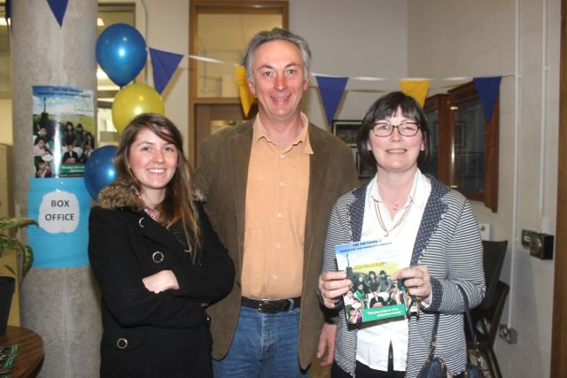 Ciara Horgan, Gary Kavanagh and Ruth Horgan at the CBS The Green TY students 'A Wake In The West' on Thursday. Photo by Dermot Crean