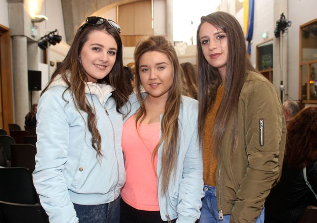 Chantelle O'Sullivan, Rachel Farrell and Rachel Quirke at the CBS The Green TY students 'A Wake In The West' on Thursday. Photo by Dermot Crean