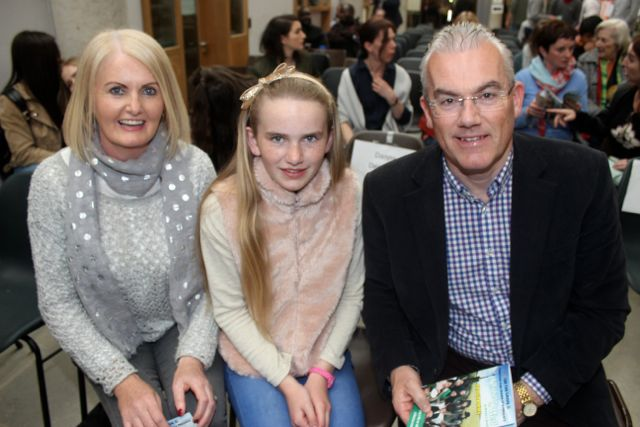 Helen, Grace and Seamus McLoughlin at the CBS The Green TY students 'A Wake In The West' on Thursday. Photo by Dermot Crean