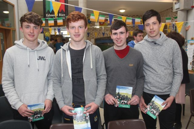 Liam O'Malley, Eoin O'Malley, Barry Lyons and Tadhg Brick at the CBS The Green TY students 'A Wake In The West' on Thursday. Photo by Dermot Crean