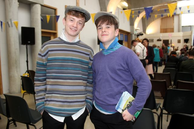 Jordan Foley and Dean O'Connell at the CBS The Green TY students 'A Wake In The West' on Thursday. Photo by Dermot Crean