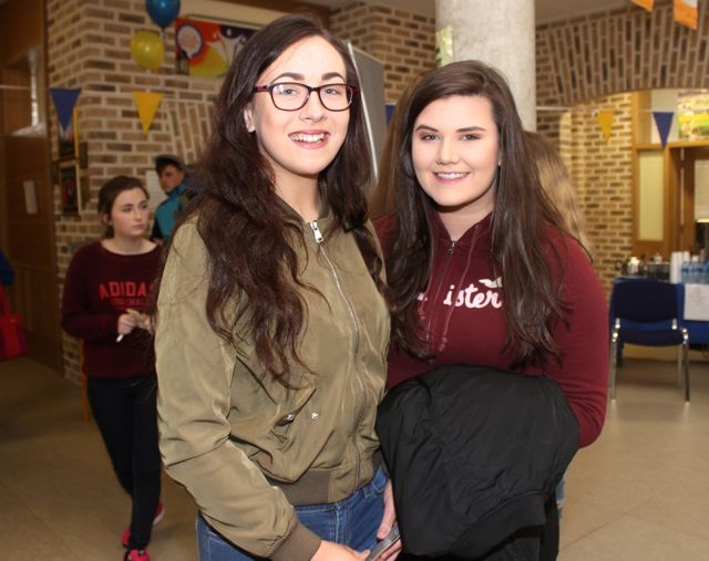 Orla Hussey and Molly Savage at the CBS The Green TY students 'A Wake In The West' on Thursday. Photo by Dermot Crean
