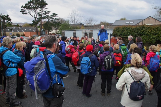 Mike O'Donnell of Kerry Camino addressing the walkers at St. Johns Church, Tralee.