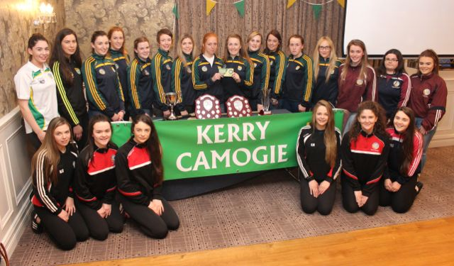 Members of the Kerry Camogie team, Cillard Camogie and Causeway Camogie at the drawing of the Kerry Camogie Golden Ticket in the Rose Hotel on Wednesday night. Photo by Dermot Crean