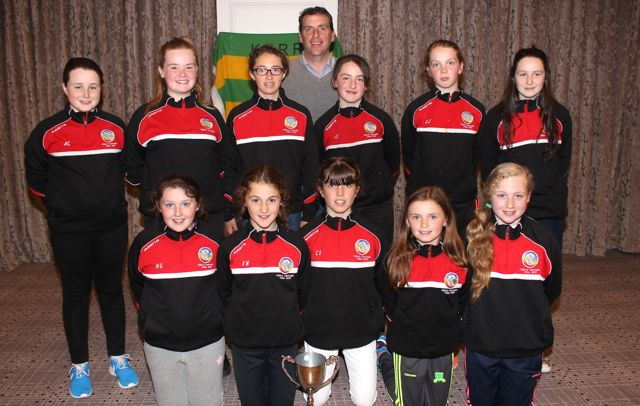 The Cillard U14 team, with Coach Joe Walsh, who became Division A Feile 2016 County Champions last week pictured at the drawing of the Kerry Camogie Golden Ticket in the Rose Hotel on Wednesday night. Photo by Dermot Crean