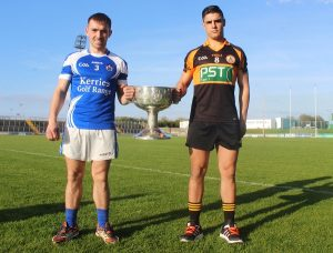 Danny O'Sullivan (Kerins O'Rahillys) and Wayne Guthrie (Austin Stacks) will be looking to get there hands on the Bishop Moynihan Cup again later in the year. Photo by Gavin O'Connor.