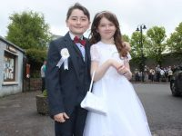CBS pupils Alex Gaudino and Sarah Burke who made their first Holy Communion in St John's Church on Saturday morning. Photo by Dermot Crean