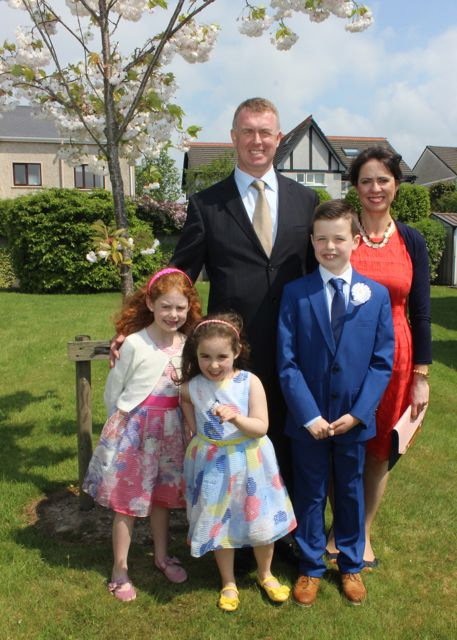 Listellick pupil Liam O'Connell who made his first Holy Communion in Our Lady and St Brendan's Church on Saturday morning with sisters Maria and Meabh and parents Morgan and Majella. Photo by Dermot Crean