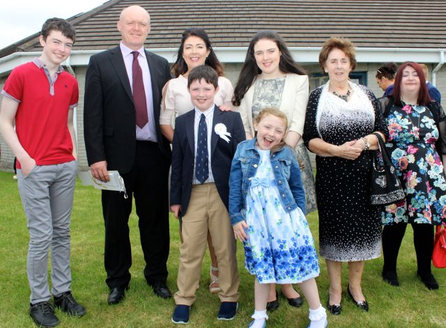 Listellick pupil, Roddy Clifford who made his first Holy Communion in Our Lady and St Brendan's Church on Saturday morning, with Darragh, John Mary, Ellie and Molly Clifford, Helen and Sinead O'Donnell. Photo by Dermot Crean