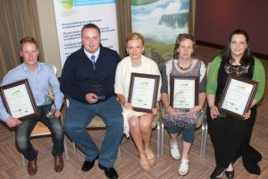 The winners of the South Kerry Development Partnership and North East & West Kerry Development Enterprise Awards programme at the Rose Hotel on Wednesday night. From left; James Sheehan of James Barbers Killorglin, Tomas and Katie from K & T Bakery, Cahersiveen, Maura Sheehy of Maura's Flowers and Doireann Barrett of The Gluten Free Kitchen. Photo by Dermot Crean