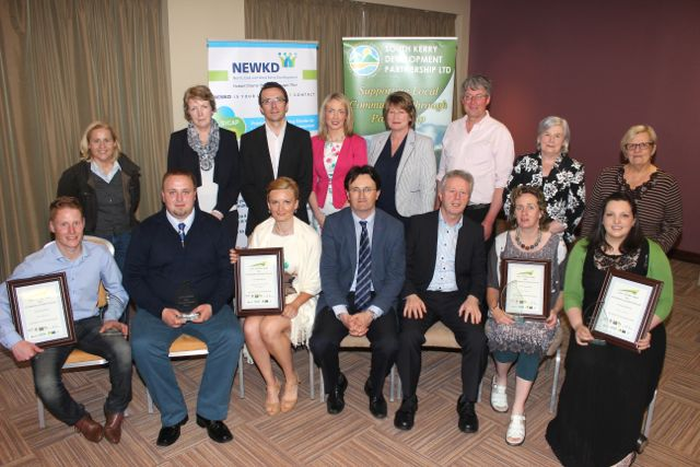 Front from left; the winners of the South Kerry Development Partnership and North East & West Kerry Development Enterprise Awards programme James Sheehan of James Barbers Killorglin, Tomas and Katie from K & T Bakery, Cahersiveen, CEO South Kerry Development Noel Spillane, CEO Of NEWKD Eamon O'Reilly, Maura Sheehy of Maura's Flowers and Doireann Barrett of The Gluten Free Kitchenat the Rose Hotel on Wednesday night. Back from left; Cllr Norma Moriarty, Anne O'Riordan (SKDP), Robert Carey (NEWKD), Joanne Griffin (SKDP), Eilish Harrahan (NEWKD), Edward Breen (NEWKD), Margaret Daly (NEWKD) and Sheila Casey (Chairperson SKDP). Photo by Dermot Crean
