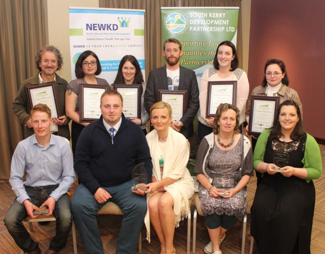 In front; the winners of the South Kerry Development Partnership and North East & West Kerry Development Enterprise Awards programme James Sheehan of James Barbers Killorglin, Tomas and Katie from K & T Bakery, Cahersiveen, Maura Sheehy of Maura's Flowers and Doireann Barrett of The Gluten Free Kitchen. Back from left; finalists at the Rose Hotel on Wednesday night. Photo by Dermot Crean