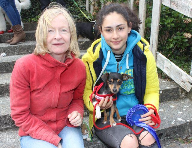 Sally and Jasmine Ryle and Millie the dog at the Kingdom County Fair on Sunday. Photo by Dermot Crean