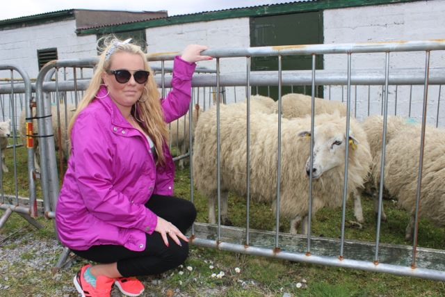 Lyndsey Buckley, Moyvane and new friend at the Kingdom County Fair on Sunday. Photo by Dermot Crean