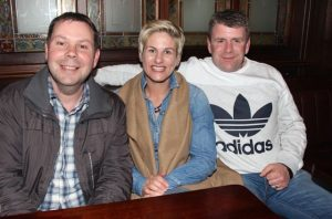 Richard Vousden with Conagh and Damian Mullen at the Kerry Film Festival Movie Quiz at The Imperial Hotel on Wednesday night. Photo by Dermot Crean