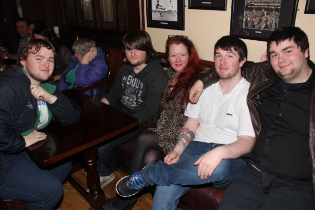 Jack McGaley Conor Thompson, Michelle Thompson, Josh Kelly and Dylan Kelly at the Kerry Film Festival Movie Quiz at The Imperial Hotel on Wednesday night. Photo by Dermot Crean