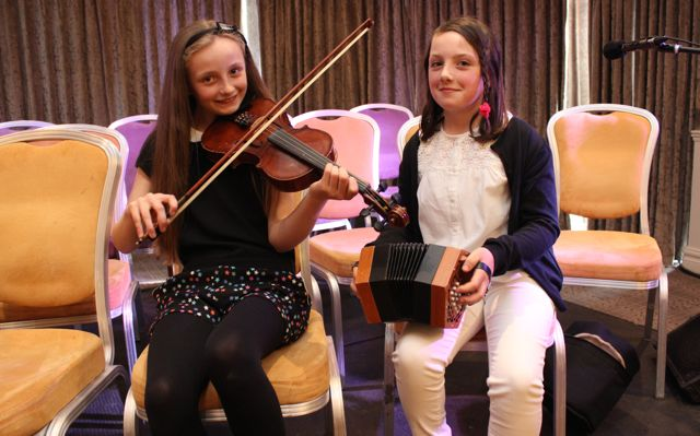 Katie Ross and Orla Murphy at the opening of Fleadh Cheoil Chiarraí at the Rose Hotel on Wednesday night. Photo by Dermot Crean