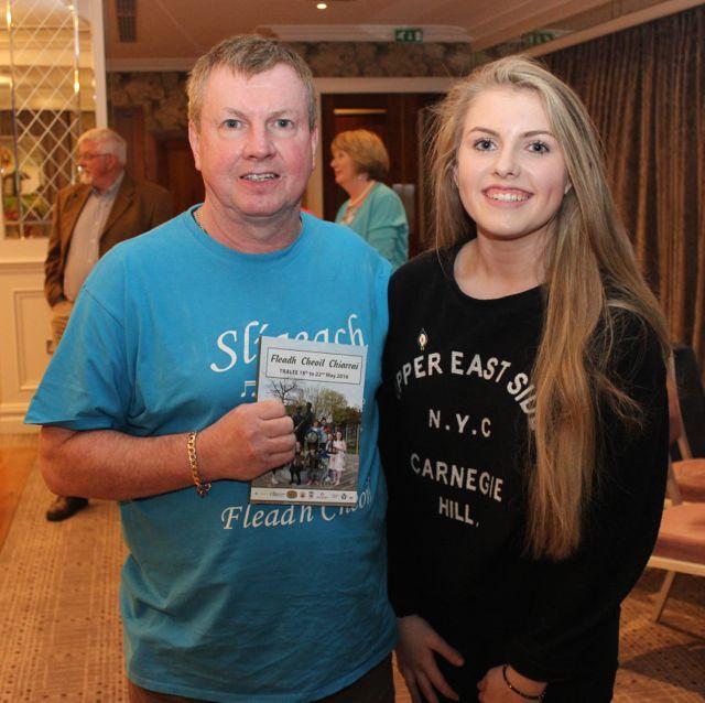 Tony Ó hEidhin and Laura Ní Eidhin  at the opening of Fleadh Cheoil Chiarraí at the Rose Hotel on Wednesday night. Photo by Dermot Crean