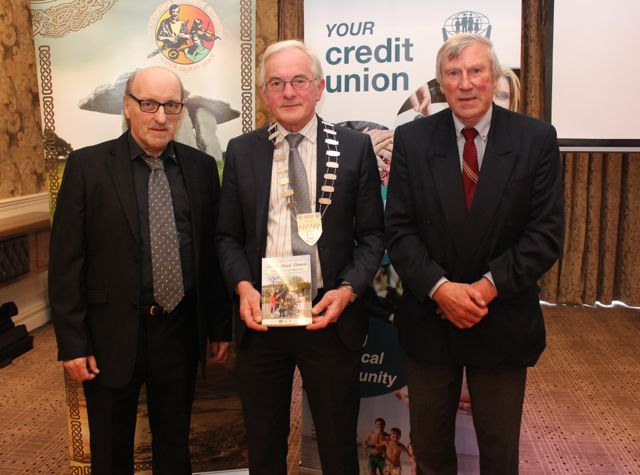 Pádraig Mac Fhearghusa, Cathaoirleach of Kerry County Council Pat McCarthy and Donie Ó Suilleabháin at the opening of Fleadh Cheoil Chiarraí at the Rose Hotel on Wednesday night. Photo by Dermot Crean