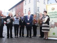At the launch of Fleadh Cheoil Kerry 2016 were, from left: Richard Casey, Mary O'Sullivan, Mary O'Regan, John Long (Chairman Chapter 23 Irish League of Credit Union), Cllr Thomas McEllistrim (Mayor of Tralee), Marian Barnes, Margaret McGrath and Kathleen McDonagh. Photo by Gavin O'Connor.