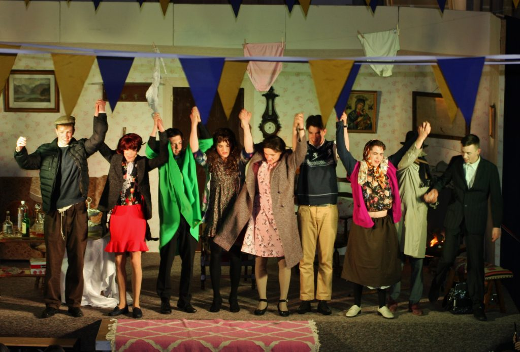 The cast of 'A Wake In The West' take a bow after the performance on Wednesday night. Photo by Adrienne McLoughlin