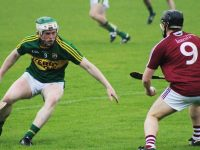 Kerry's Daniel Collins eyes down a Westmeath man.  Photo by Gavin O'Connor
