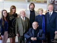 Kelsey Lang McCarthy, Deirdre Mahony, President Micheal D.Higgins, Patrick Brendan O'Neil,  Sabina Higgins and Donal O'Neill and Fr.Padraig O'Fiannachta at the Irish Premiere of The Uncountable Laughter of The Sea