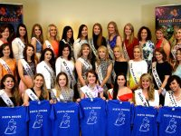 Kerry Rose 2015 Julett Culloty (front centre) with most of the contestants for Kerry Rose 2016 at a get together in the Rose Hotel on Sunday. Photo by Will Nolan