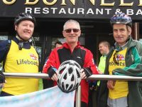 James Clifford, Brendan McCarthy and Billy Revington at the start of the Fenit Lifeboat Cycle from O'Donnell's Mounthawk on Saturday morning. Photo by Gavin O'Connor.