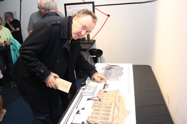 Tom McCarthy from Ardfert taking a look at part of the Media Rising exhibition at Kerry County Museum on Thursday evening. Photo by Dermot Crean