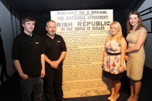 Creators of the Media Rising Exhibition, Liam McElligott, Jenny Plunkett, Noel Nash and Aine Brennan, in front of the Proclamation they painstakingly recreated, at the opening of the exhibition at Kerry County Museum on Thursday evening. Photo by Dermot Crean