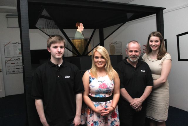 Creators of the Media Rising Exhibition, Liam McElligott, Jenny Plunkett, Noel Nash and Aine Brennan, in front of a revolving hologram of Padraig Pearse reading the Proclamation, at the opening of the exhibition at Kerry County Museum on Thursday evening. Photo by Dermot Crean