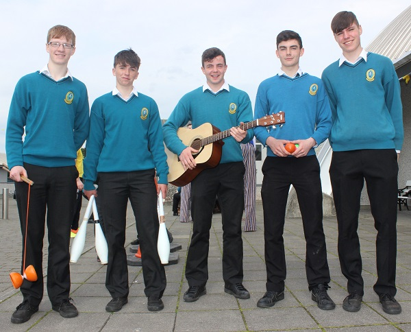 Mercy Mounthawk students, from left: Evan Maher, Gearoid Dillane, Ciaran O'Reilly, Sean Griffin and Adrian Nolan. Photo by Gavin O'Connor.