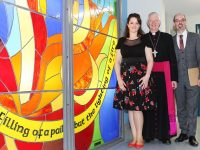 Artist, Mary J Leen with Bishop of Kerry Ray Browne and Mercy Mounthawk Principal, John O'Rourke. Photo by Gavin O'Connor.