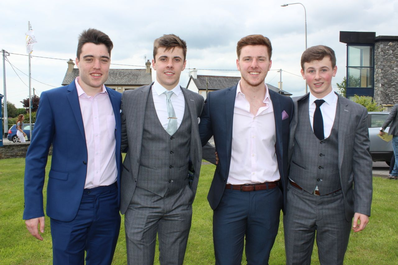 David Murphy, Karl Hoffman, James O'Connor and Adam McEllistrim at the Mercy Mounthawk graduation ceremony at Our Lady and St Brendan's Church on Friday afternoon. Photo by Dermot Crean