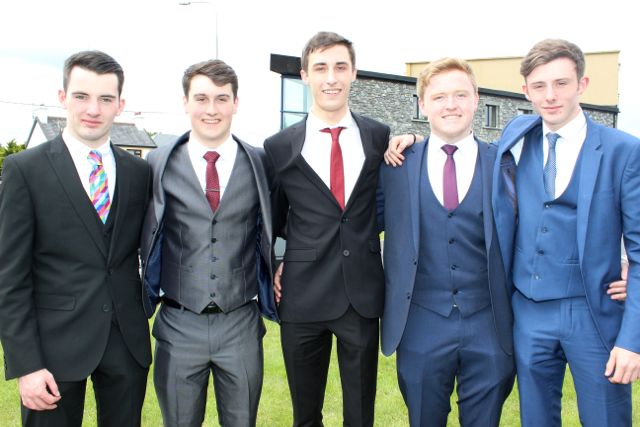 Jack Lindane, Kevin Murphy, Luke Ryan, Conor O Nuallain and Ronan Carey at the Mercy Mounthawk graduation ceremony at Our Lady and St Brendan's Church on Friday afternoon. Photo by Dermot Crean