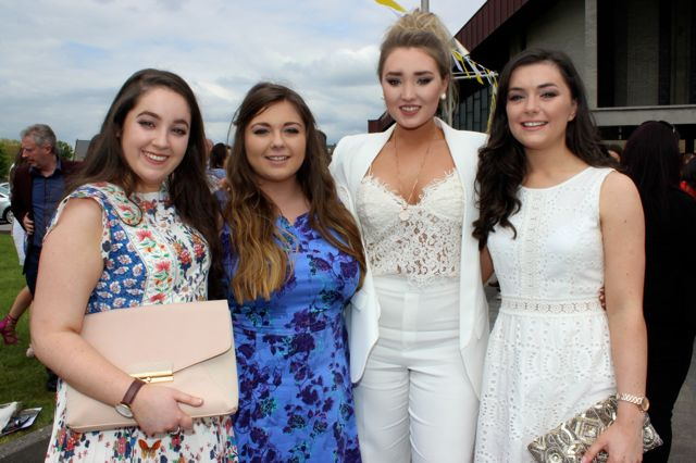 Sarah Hartnett, Karen O'Brien, Catriona Collins and Caoimhe Barry Walsh at the Mercy Mounthawk graduation ceremony at Our Lady and St Brendan's Church on Friday afternoon. Photo by Dermot Crean